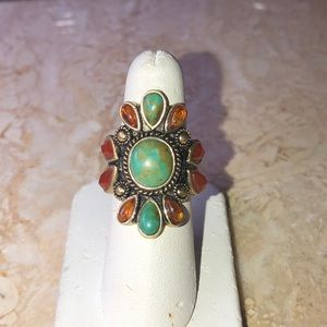 Barse turquoise, amber and carnelian ring.